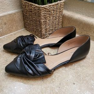 Lane Bryant D'Orsay Black Bow Point Flat Shoes 12W